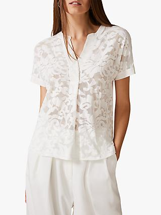 Phase Eight Lesley Lace Top, Ivory
