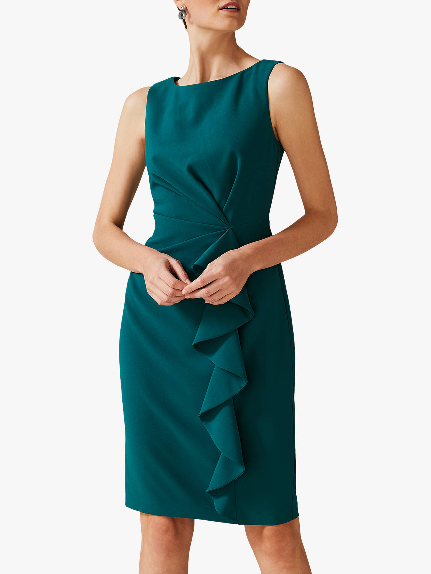 Phase Eight Gia Frill Dress, Bright Jade on