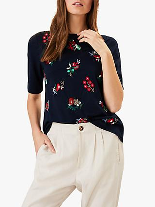 Phase Eight Chala Ditsy Embroidered Bead Top, Navy/Multi