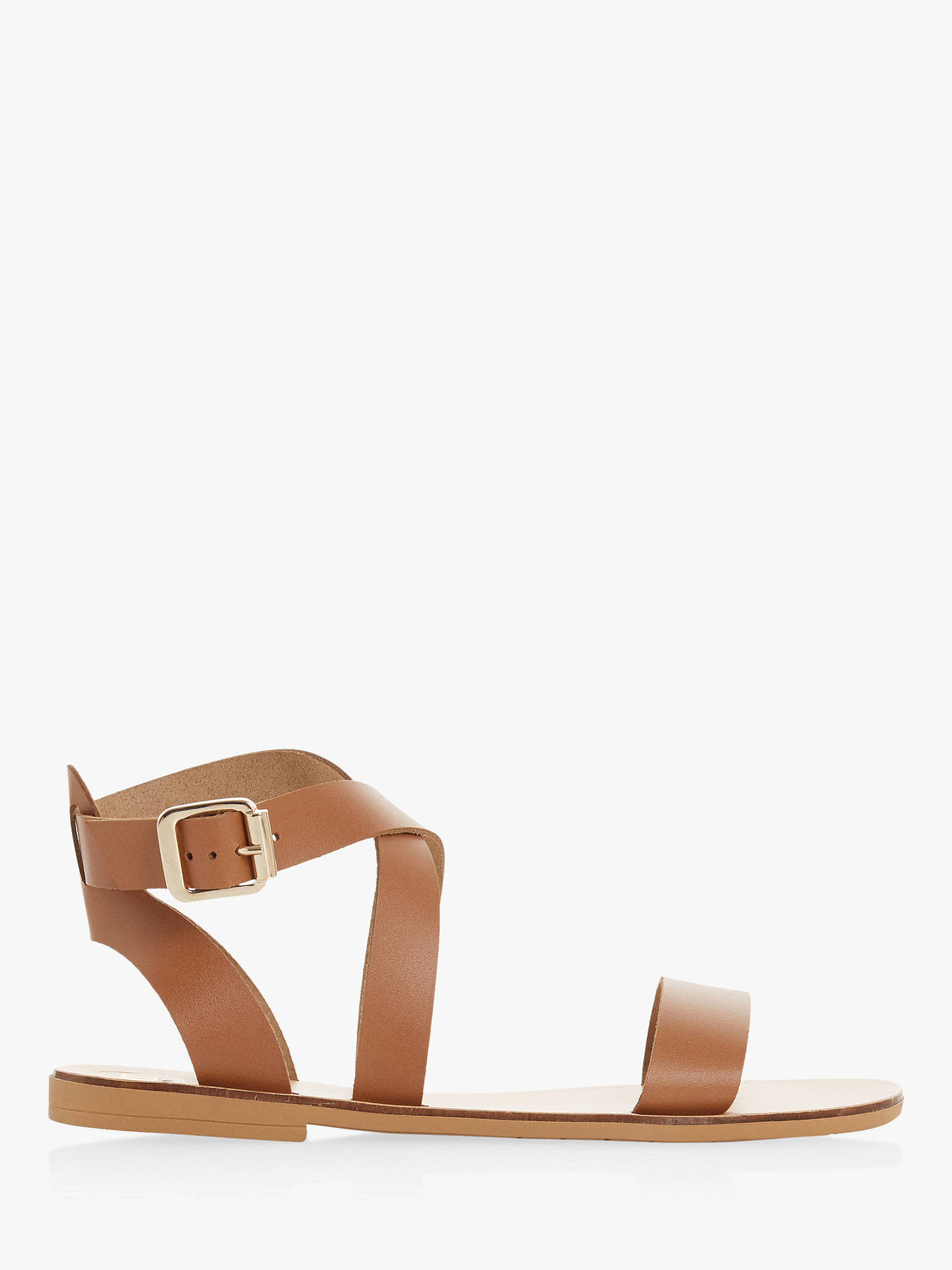 3b56ae4e3d90a Buy Dune Lottiie Leather Cross Strap Sandals, Tan, 3 Online at  johnlewis.com ...