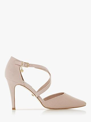 Dune Clancy Leather Cross Strap Pointed Toe Court Shoes, Blush