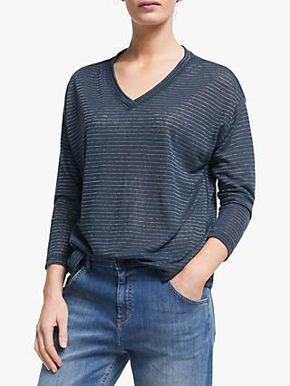 AND/OR Daria Dolman Sleeve Stripe Top, Ink/Silver