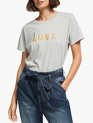 AND/OR Love Slogan T-Shirt, Grey