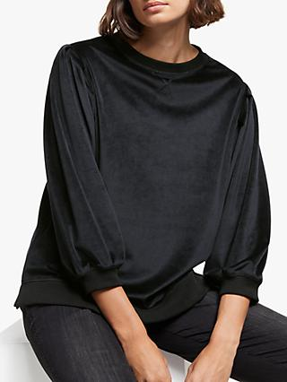 AND/OR Isla Velvet Sweatshirt Top, Black