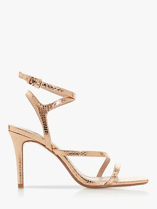 Dune Mightey Reptile Print High Stiletto Heel Sandals, Rose Gold