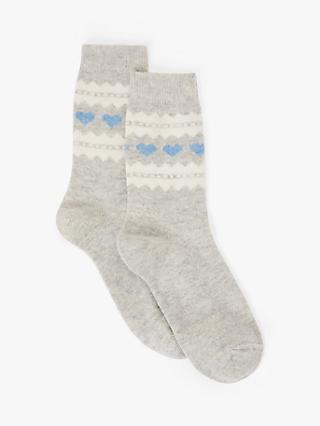 John Lewis & Partners Cashmere Mix Heart Print Ankle Socks, Light Grey/Multi