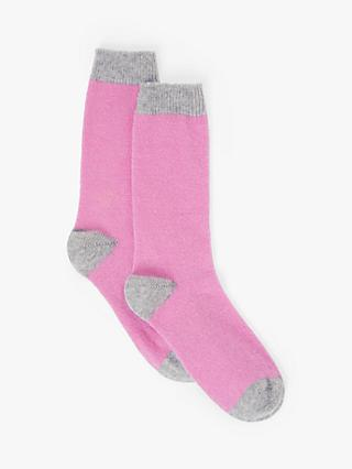 John Lewis & Partners Cashmere Rich Contrasting Heel and Toe Ankle Socks