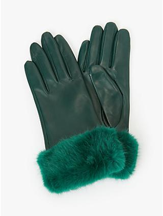 John Lewis & Partners Faux Fur Trim Leather Gloves