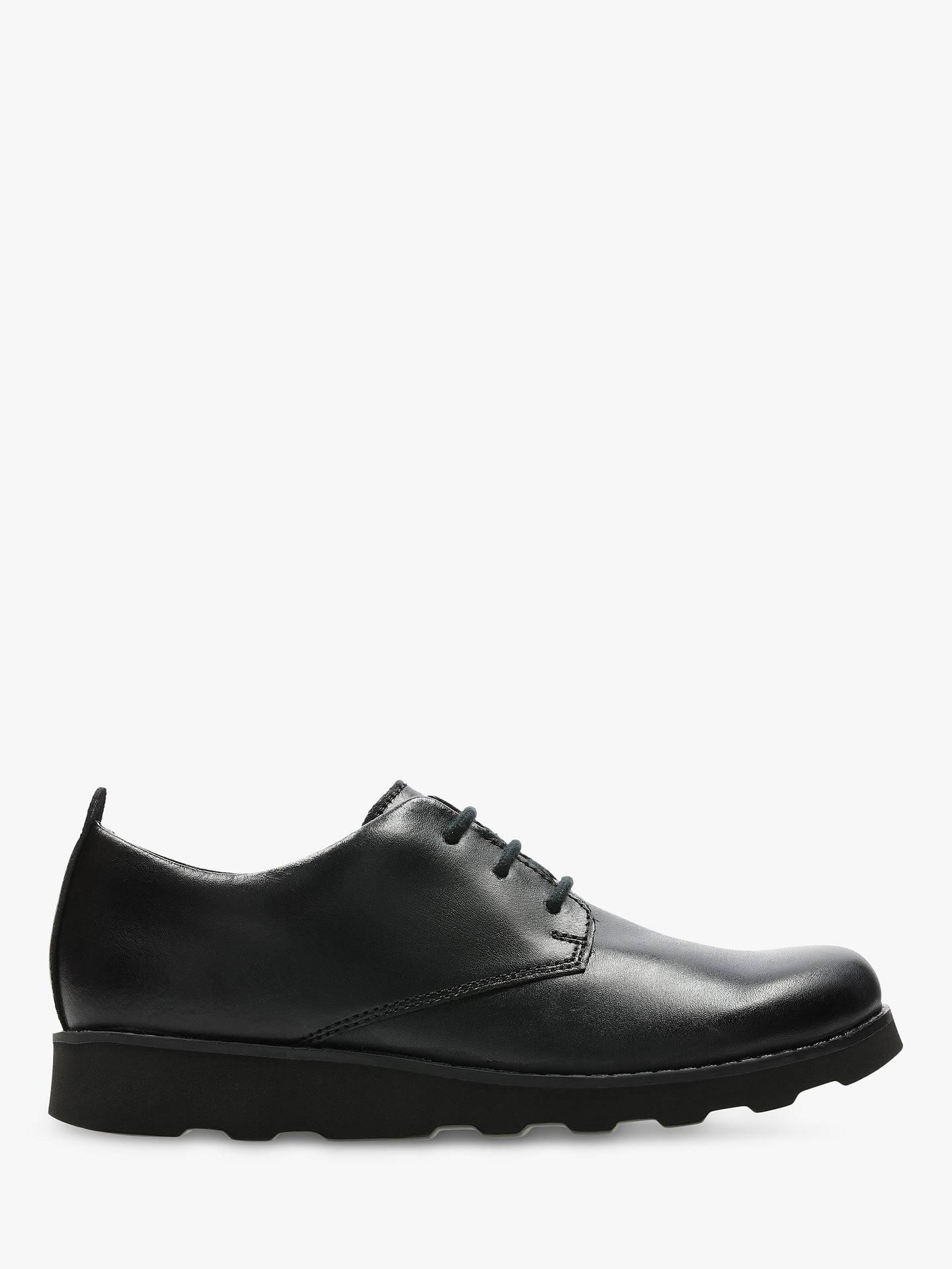 Clarks Children's Crown London Shoes, Black Leather