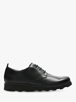 Clarks Children's Crown London Shoes, Black Leather