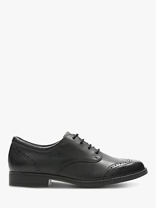 Clarks Junior Sami Walk Brogue Shoes, Black Leather