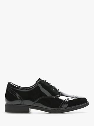 Clarks Junior Sami Walk Brogue Shoes, Black Patent