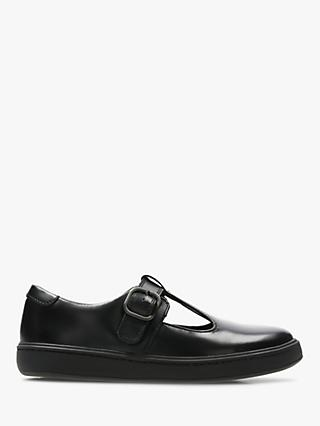 Clarks Children's Street Soar Shoes, Black Leather
