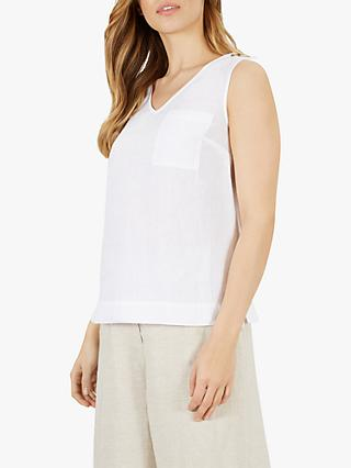 Jaeger Linen V-Neck Sleeveless Top