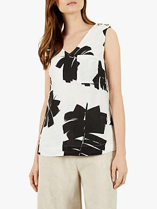 Jaeger Palm Print Linen Top, Black/White