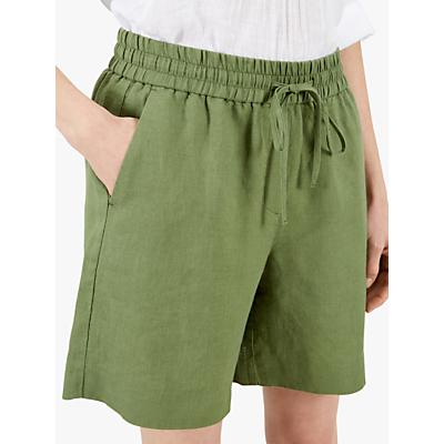 Jaeger Tie Waist Linen Shorts, Khaki