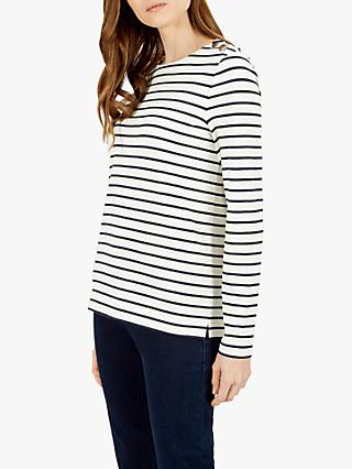 Jaeger Breton Stripe Enamel Button Jersey Top, Ivory