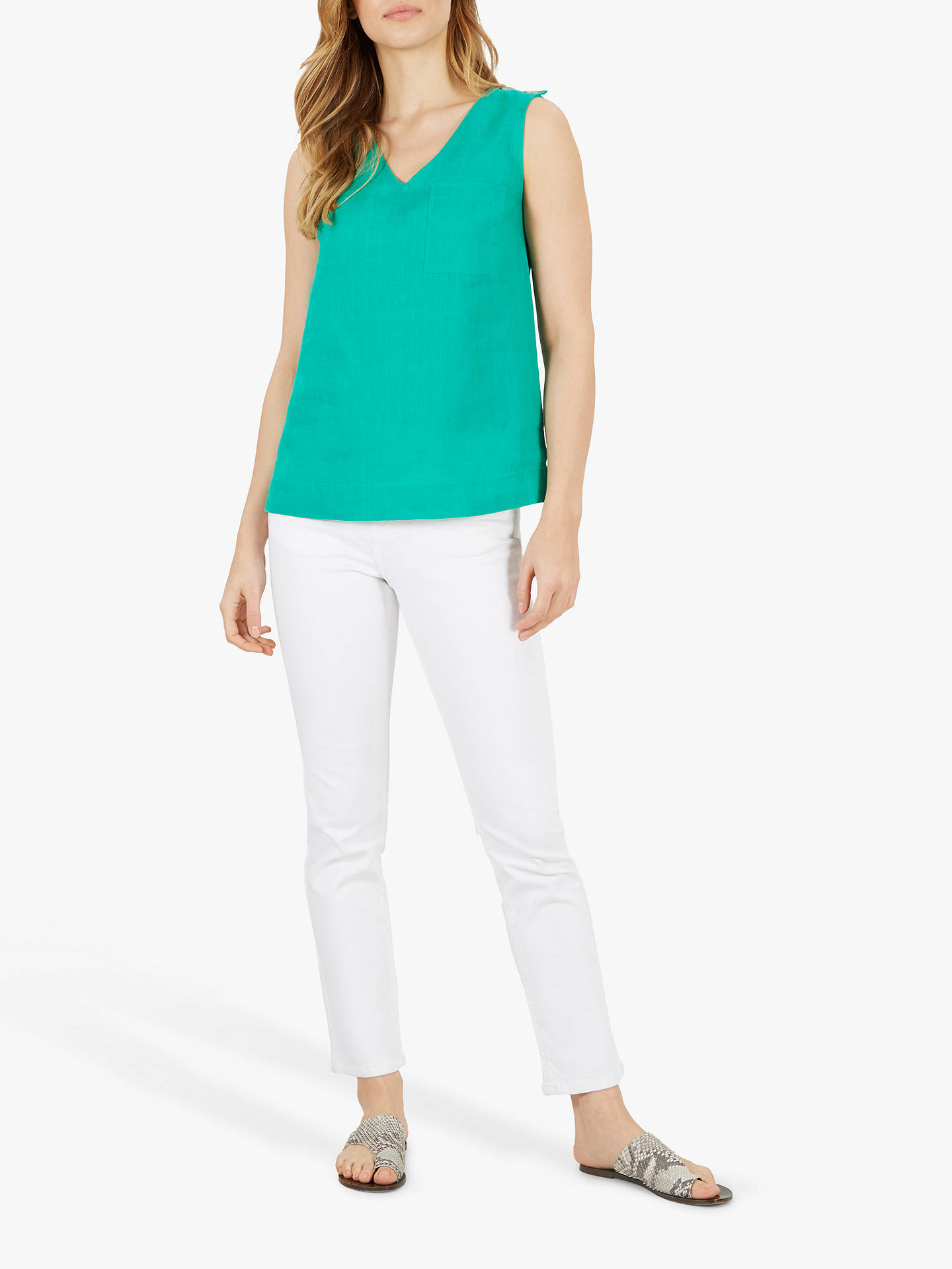 Buy Jaeger Linen V-Neck Sleeveless Top, Green, 16 Online at johnlewis.com