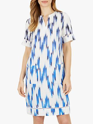 Jaeger Blurred Zig Zag Dress, Blue/White