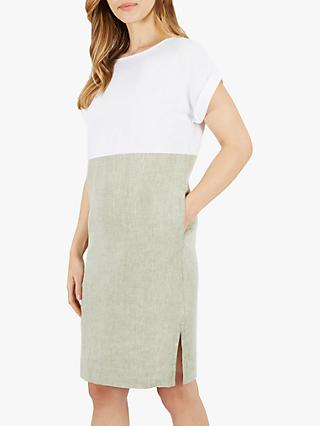0472daafa29c Jaeger Colour Block Cross Dye Linen Dress, Khaki