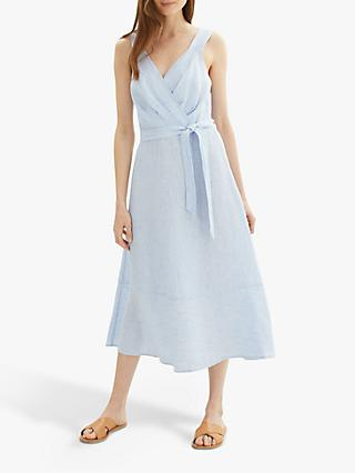 Jaeger Fine Stripe Linen Sun Dress, Blue/White