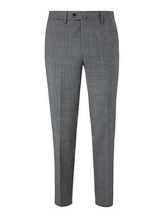 Hackett London Chelsea Prince of Wales Check Tailored Suit Trousers, Grey