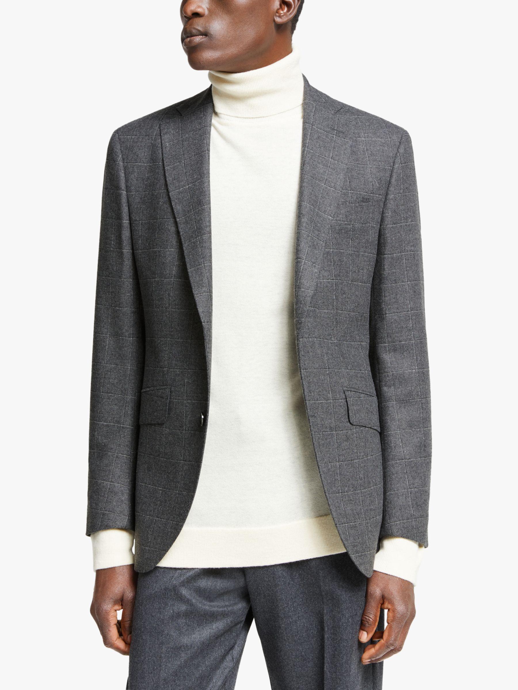 Hackett London Hackett London Windowpane Check Tailored Suit Jacket, Grey