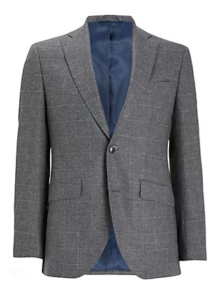 Hackett London Windowpane Check Tailored Suit Jacket, Grey
