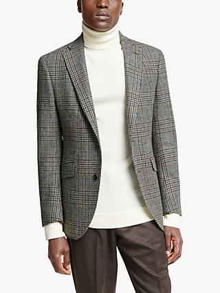 Hackett London Wool Tweed Blazer, Brown/Grey