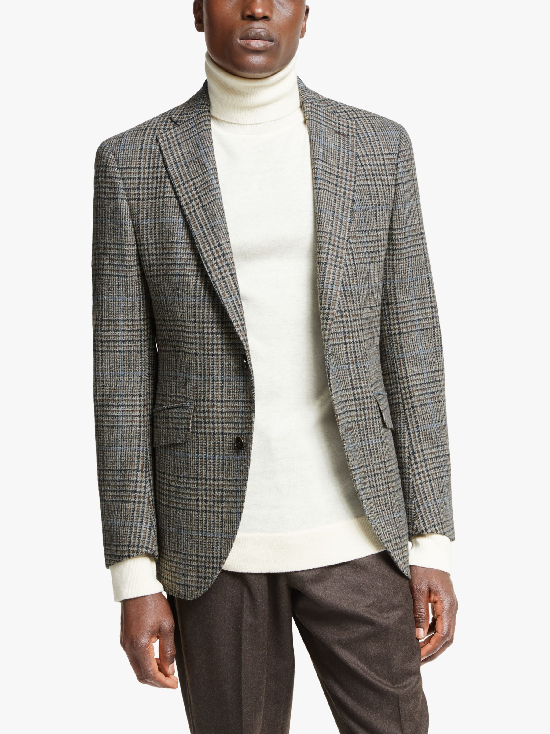 Hackett London Hackett London Wool Tweed Blazer, Brown/Grey