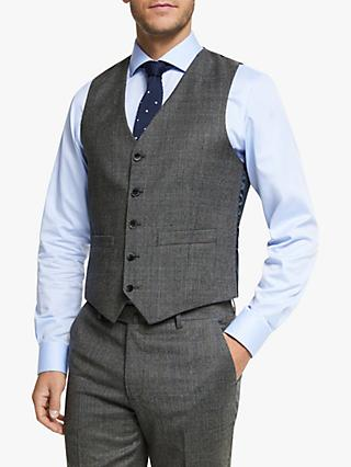 Hackett London Chelsea Prince of Wales Check Tailored Waistcoat, Grey/Blue