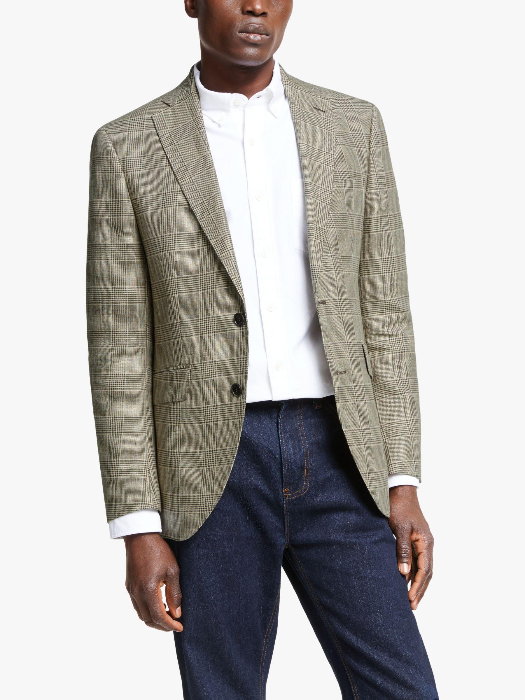 Hackett London Hackett London Linen Cotton Check Blazer, Beige/Brown