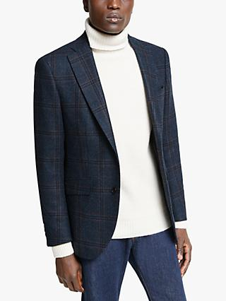 Hackett London Wool Tweed Check Blazer, Navy/Blue