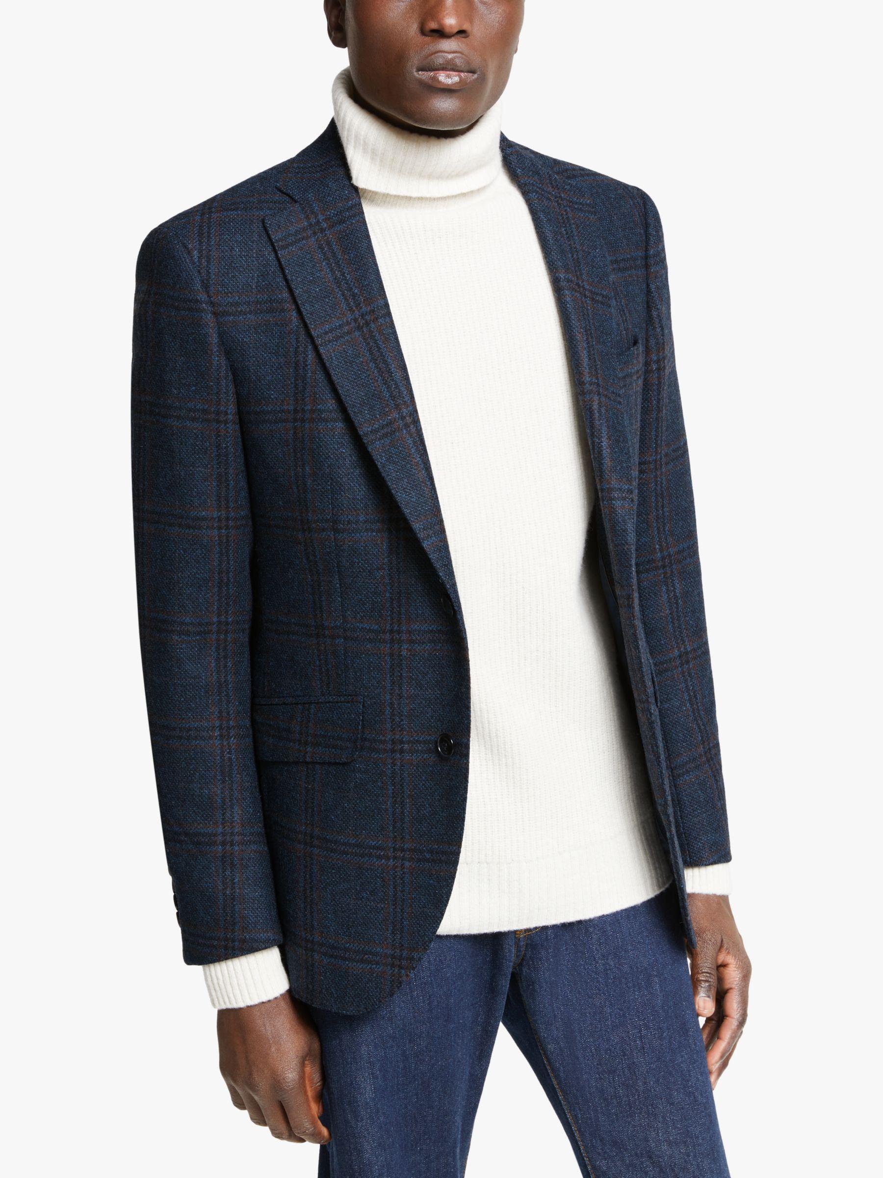 Hackett London Hackett London Wool Tweed Check Blazer, Navy/Blue