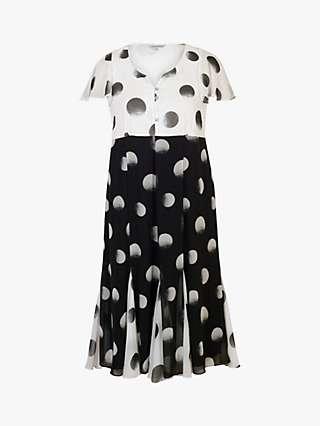 Chesca Button Pleat Hem Spot Dress, Black/Ivory