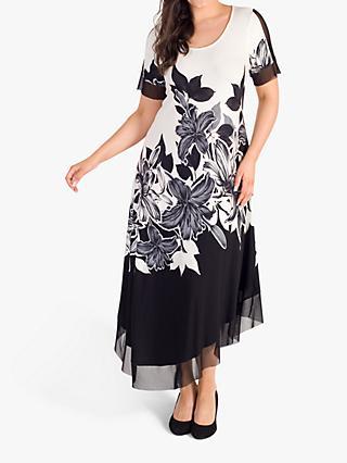 e4672307a90d chesca Garland Floral Mesh Insert Maxi Dress, Ivory/Black