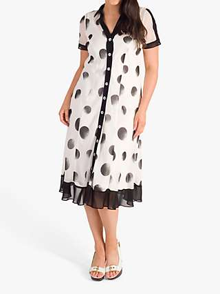 Chesca Ombre Spot Shirt Dress, Ivory/Black