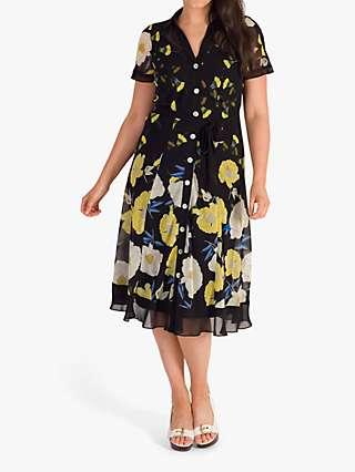 Chesca Floral Poppy Border Shirt Dress, Black/Yellow