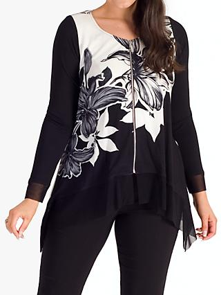 chesca Garland Floral Zip Front Top, Ivory/Black