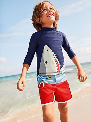 Mini Boden Boys' Rash Vest, Deep Sea Blue Shark