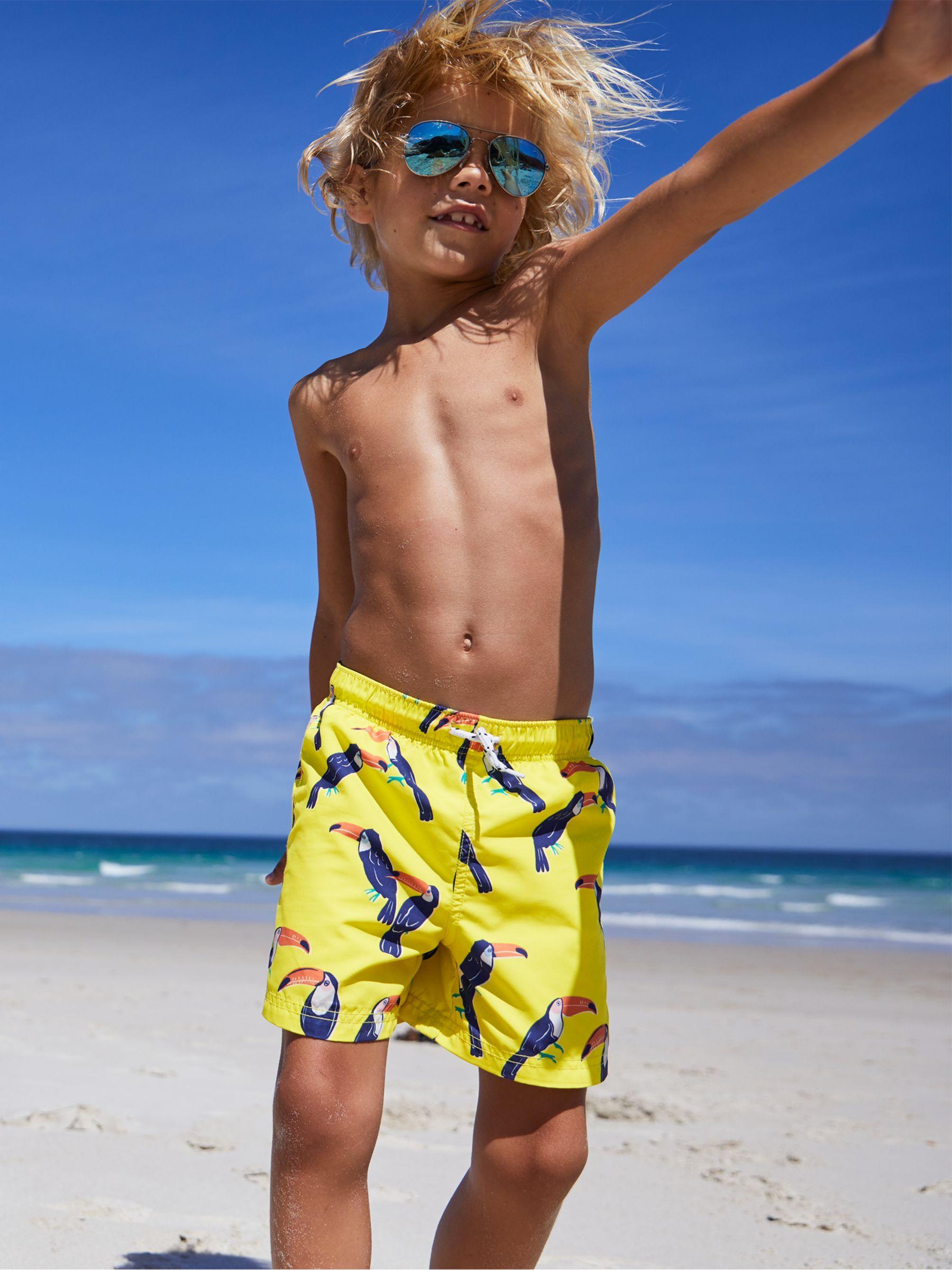 df1eda2e5b021 Mini Boden Boys' Bathers Swimming Shorts, Yellow Toucans at John ...