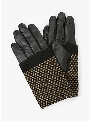 Becksondergaard Riga Leather Gloves, Black/Beige