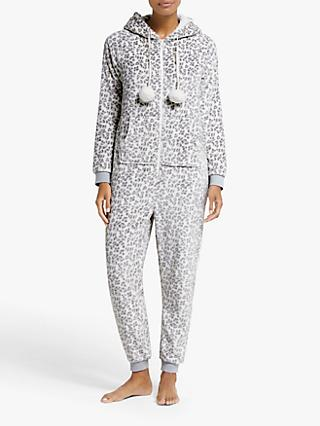 John Lewis & Partners Snow Leopard Fleece Onesie, Grey