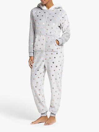 John Lewis & Partners Foil Star Fleece Onesie, Grey/Rose Gold