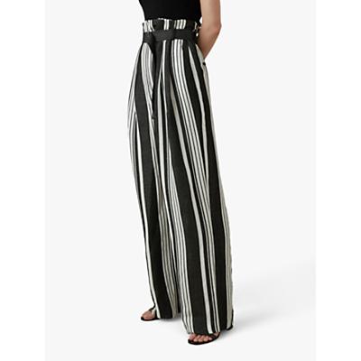 Karen Millen Linen Stripe Trousers, Black/White