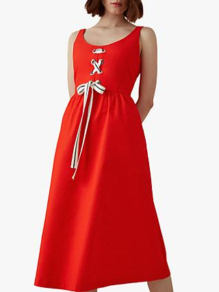 Karen Millen Lace-Up Midi Dress, Red