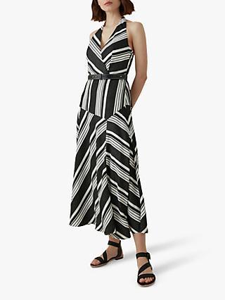 8e9d72ad9f Karen Millen Striped Halterneck Midi Dress, Black/White