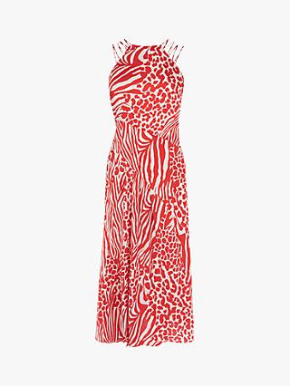 Karen Millen Animal Print Midi Dress, Red/Multi