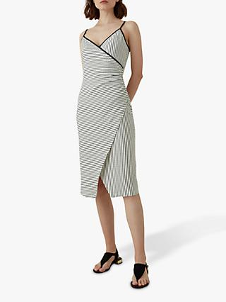 Karen Millen Striped Wrap Dress, White/Black