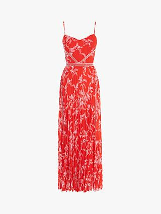 Karen Millen Pleated Floral Maxi Dress, Red/Multi